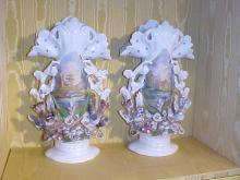 Pair of Old Paris Handpainted Porcelain Vases