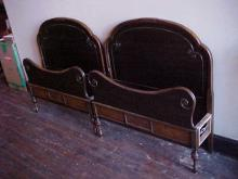 Pair of Walnut Twin Beds with Inlay