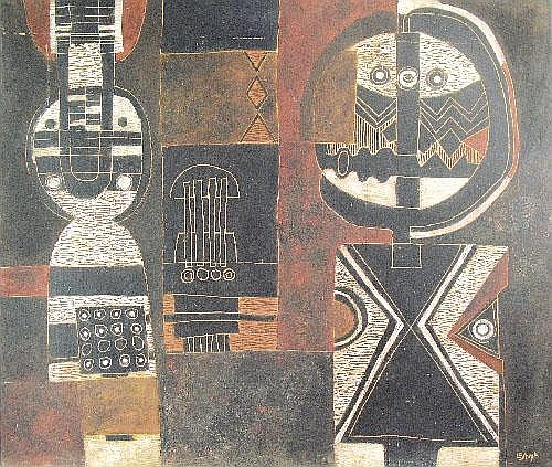 Lucky Madlo SIBIYA, (1942 - 1999)  CARVED / INCISED PANEL,