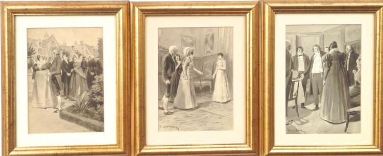 (3) Pierre Vidal, Original Illustration Watercolors