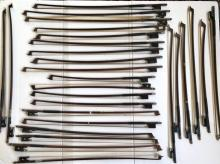 Collection of 27 Violin Bows, Hardwood, Inlaid with Mother of Pearl & Abalone Mounts