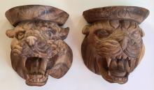 Architectural Pair of Carved Wood Lion Heads With Open Mouth