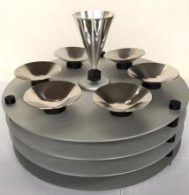 Yaakov Greenvurcel, Modernist Sedar Plate. Sterling Kiddish Cup and Brushed Aluminum. Jerusalem, Israel
