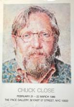 Chuck Close (American, b. 1940) Pace Gallery 1986, Hand Inscribed in Ink by Chuck Close