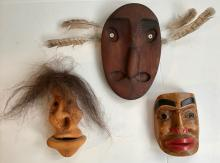Eskimo / Inuit Carved & Painted Wood Masks. Three Masks Signed: Peter Lind, Jr., Artie George & F.G.