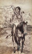 Native American Indian Painting, Grand Teton Mountain Range. Native American With Rifle & Horse, R. Broxton