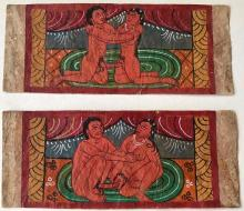 Indo-Persian Erotic Mughal Paintings With Calligraphic Text (2)