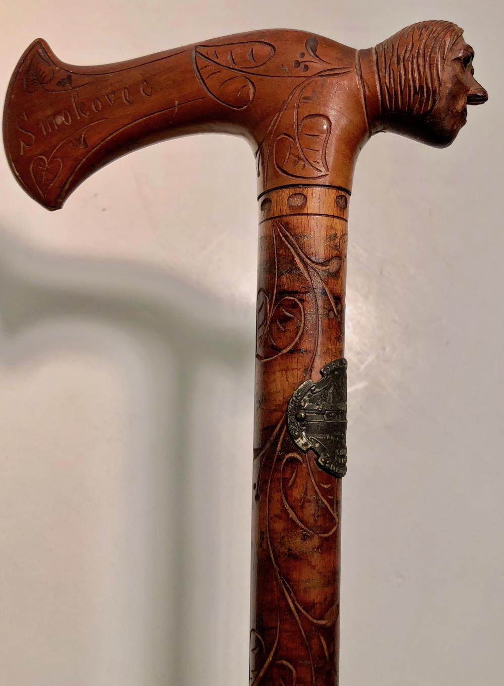 Antique Folk Art Carved Shepherds Axe Hiking Cane With Human
