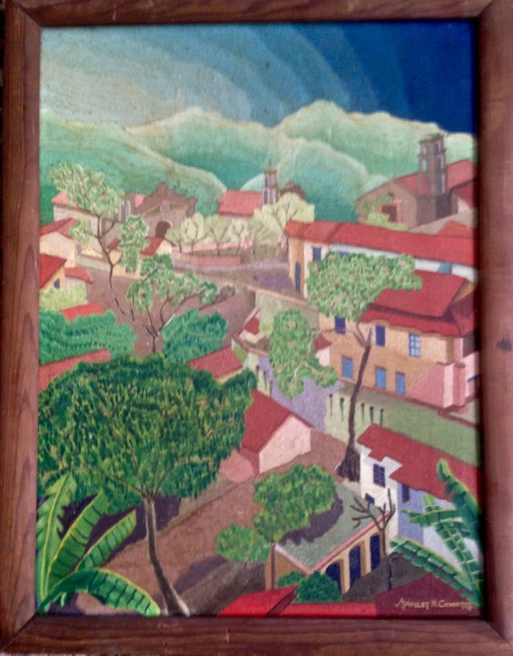 Tropical Village Landscape Oil Painting, Stanley Coventry 1930's