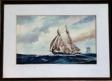 British Maritime Painting Clifford Charman TWO MASTED FISHING SCHOONER