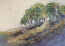 """Robyn Kittelty Redman """"Children with Kite"""" Pastel"""