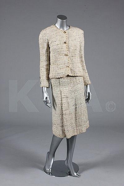 A Chanel cream tweed suit, 1990s, boutique