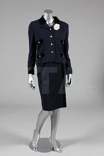 A Chanel navy jersey suit, 1990s, boutique