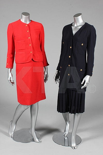 Two Chanel suits, comprising: red wool collarless