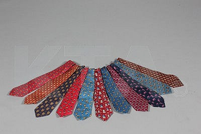 Hermès printed silk ties, mainly novelty prints
