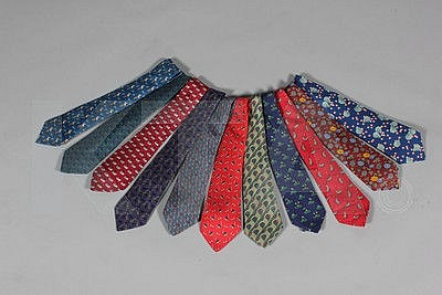 Hermès printed silk ties, mainly small novelty