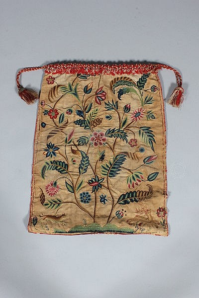 A crewel embroidered work bag, English, dated