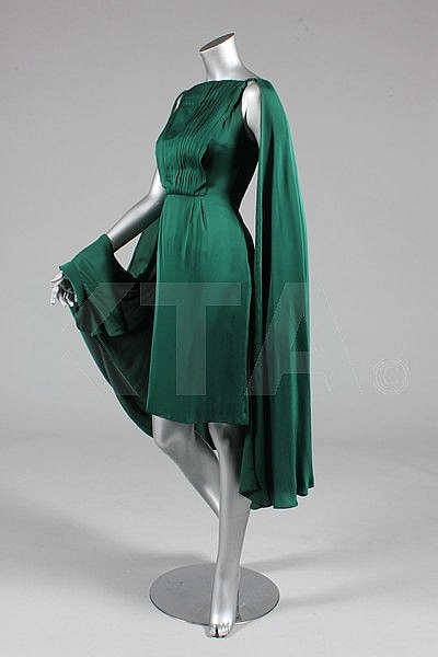 A Biki green satin cocktail dress, circa 1959,