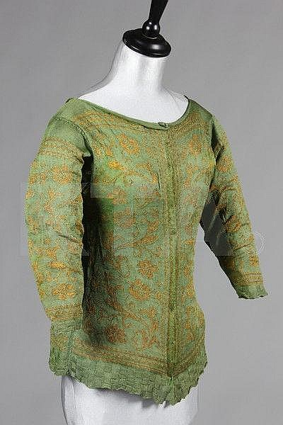 A rare green and yellow knitted silk woman's