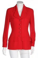 A Chanel red jacket, 1990s, boutique labelled, with four pockets and domed
