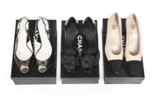 Three pairs of Chanel evening shoes, modern, stamped to the interiors, comp