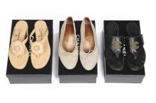 Three pairs of summery Chanel shoes, modern, stamped to the interiors, comp