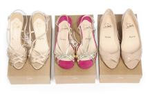 Three pairs of Christian Louboutin shoes, comprising gold leather sandals;