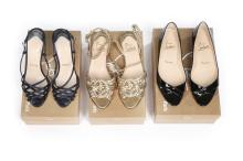 Three pairs of Christian Louboutin shoes, comprising gold plaited leather s