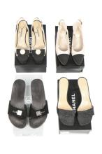 Four pairs of Chanel shoes, modern, stamped to interiors and in original bo