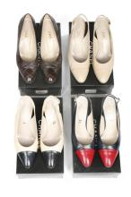 Four pairs of Chanel leather shoes, probably 1990s, signed to interior and