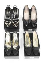 Four pairs of black Chanel shoes, 1990s-modern, stamped to interior, includ