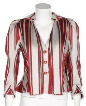 A Vivienne Westwood caraco inspired striped silk-cotton jacket, circa 1996,
