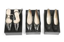Three pairs of Chanel shoes, modern, stamped to the interiors, comprising b