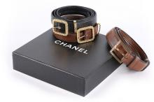 Three Chanel leather belts, 1980s, stamped, two with identical 'twisted rop