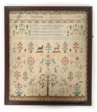 An embroidered sampler of Adam and Eve, dated 1777, initialled L, I, cream