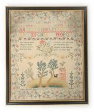 An embroidered sampler by Elizabeth Hillyer, finished in 1807, with house o