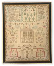 An embroidered house sampler by Janet Anderson, 1803, aged 10 years, the cr