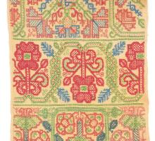 A good embroidered long sampler, English, late 17th century, brightly worke
