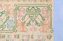 Martha Mellis border band sampler dated 1678, of loose-weave linen, worked