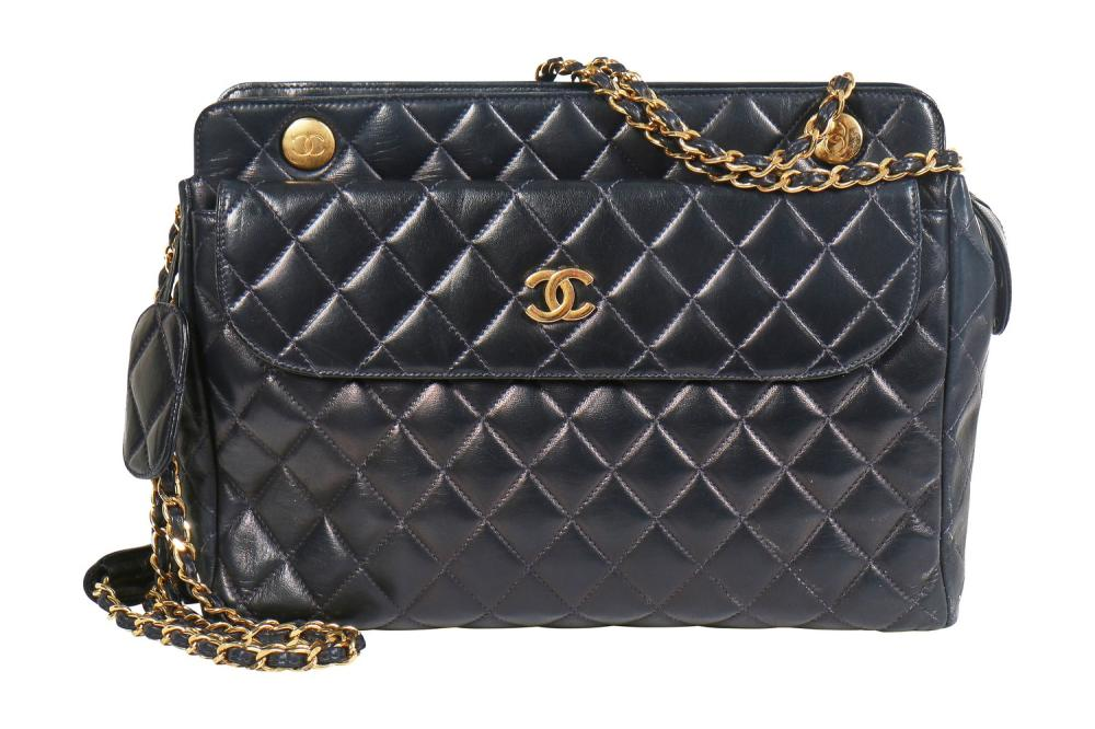 A Chanel navy quilted lambskin bag, 1980s,