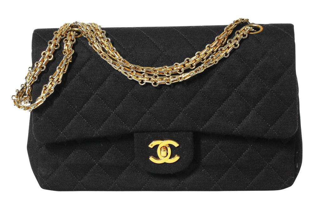 A Chanel black quilted wool-jersey flap bag, 1989-91,