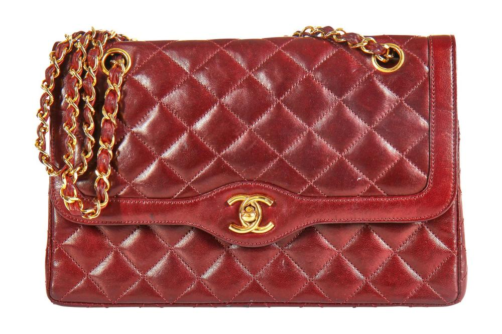 A Chanel bordeaux-red quilted lambskin leather flap bag, 1980s,