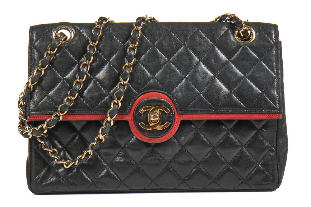 A Chanel black quilted lambskin leather flap bag, 1980s,