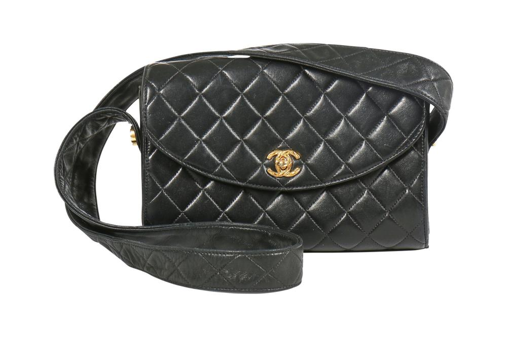 A Chanel black quilted lambskin leather bag, circa 1992,
