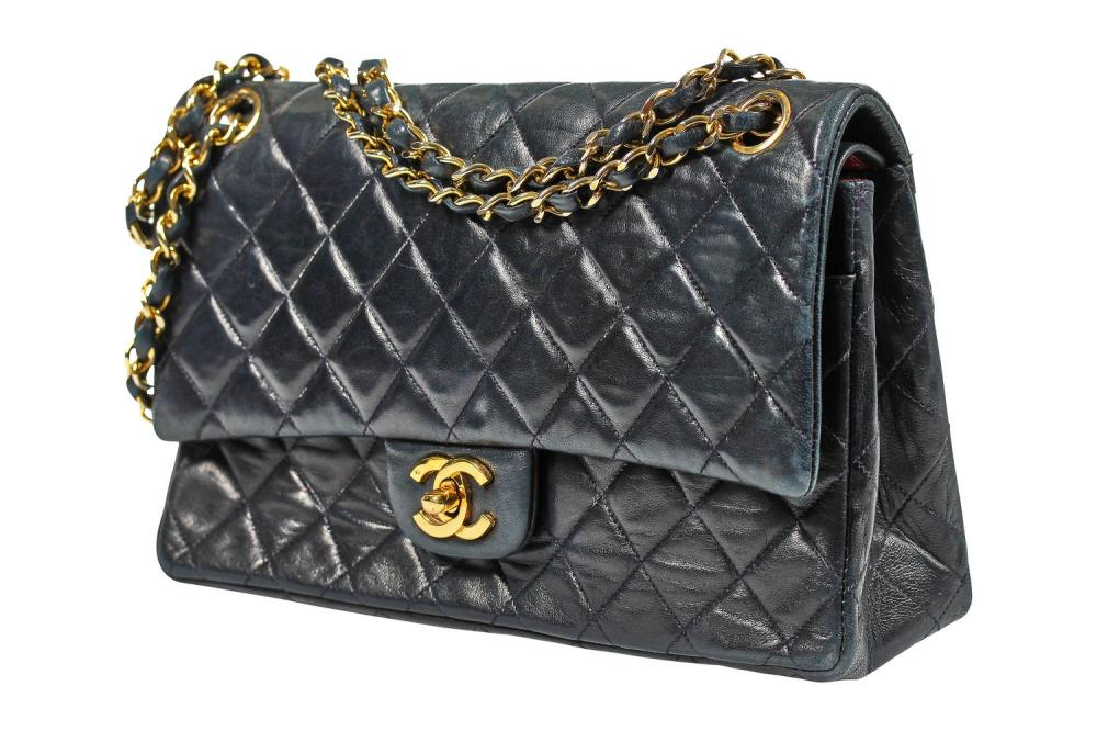 A Chanel navy quilted lambskin leather flap bag, 1980s,