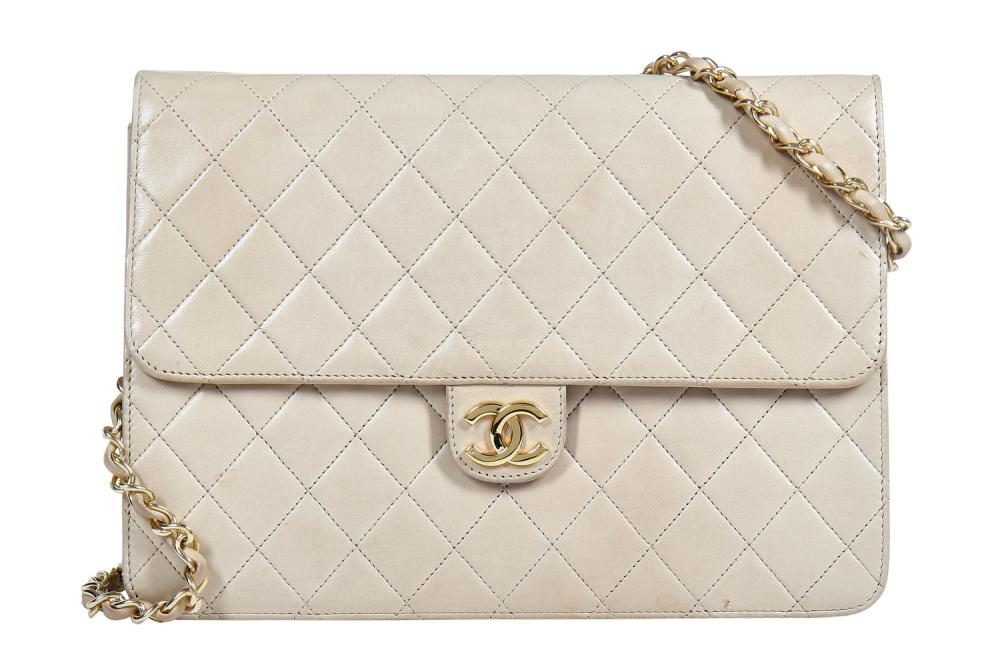 A Chanel sand-coloured quilted lambskin leather bag, 1980s,