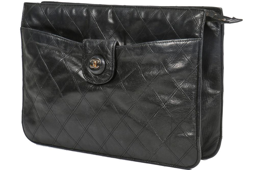 A Chanel quilted black lambskin leather pochette, 1986-88