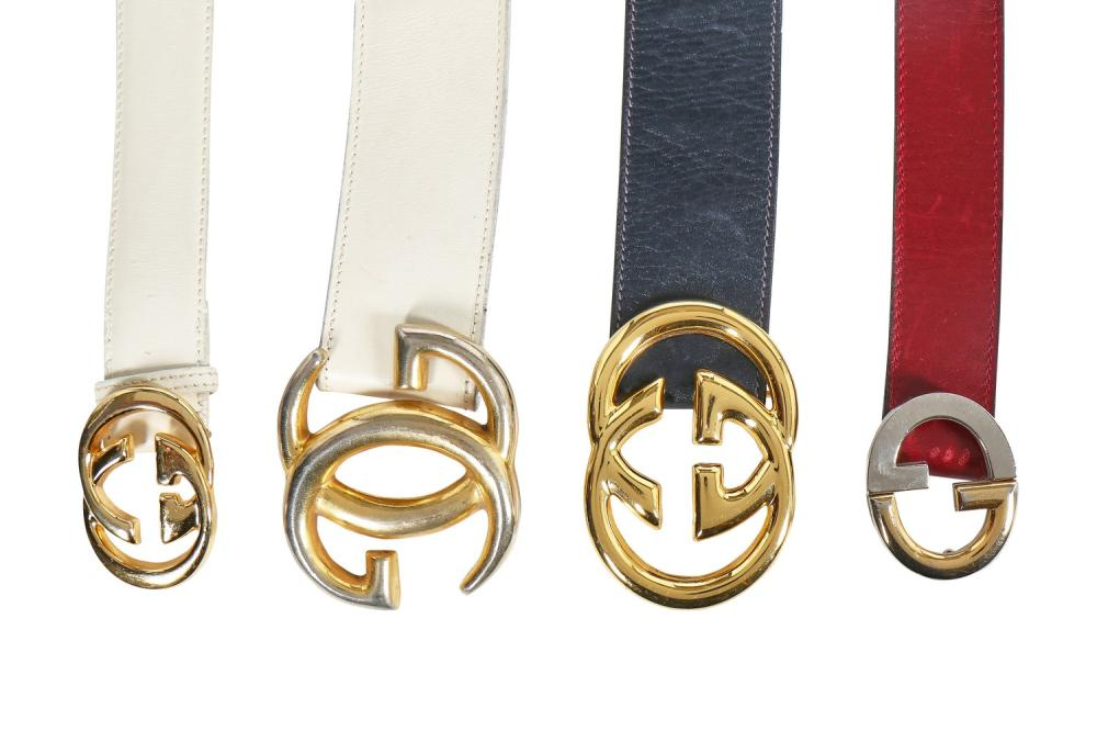 Four Gucci leather belts with gilt double 'G' buckles, 1970s-80s,