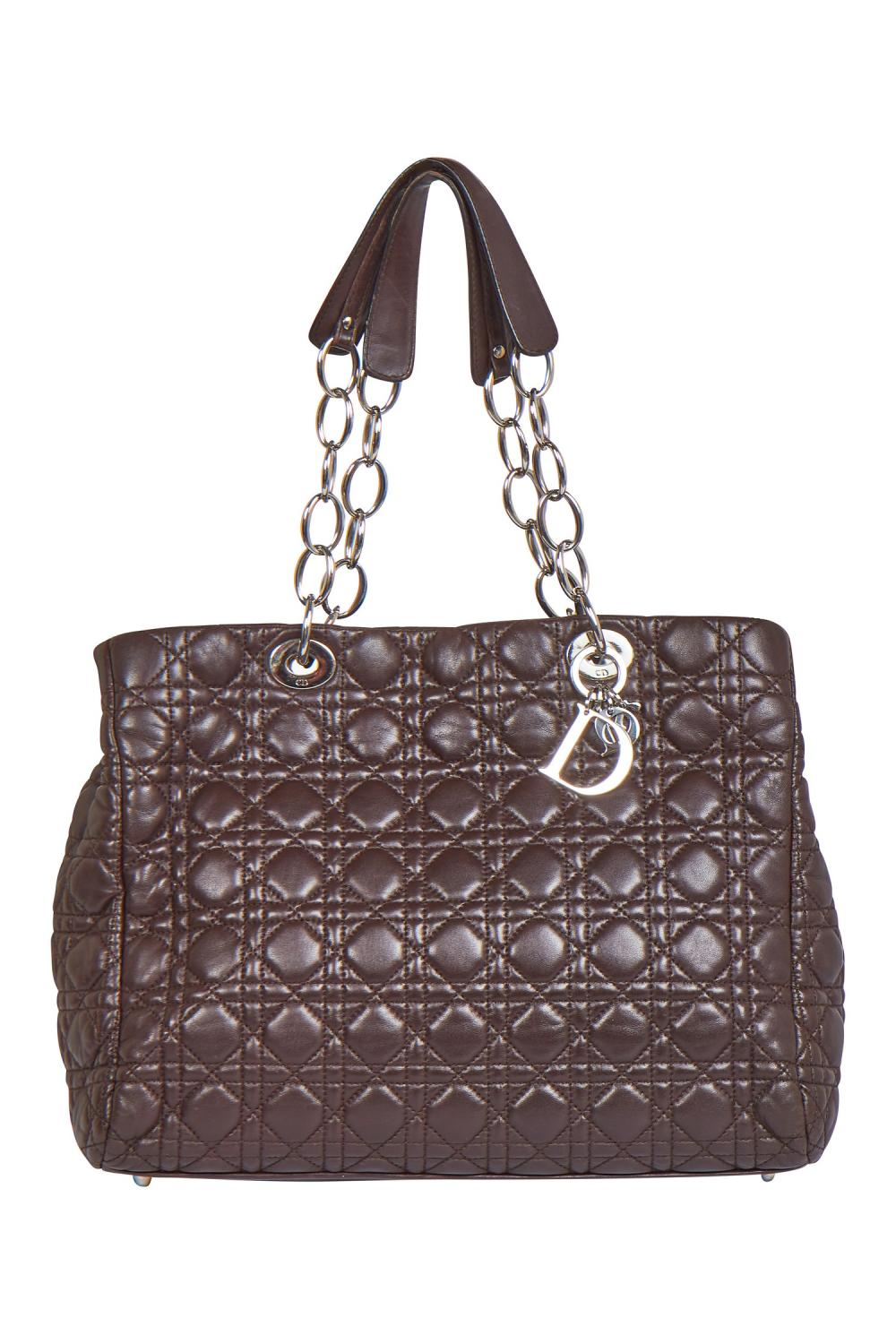 A Dior 'cannage' quilted brown lambskin leather shopping tote bag, 2000s,