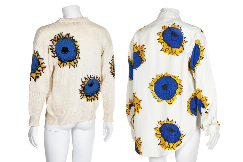 A Richard James men's surrealist sunflower print silk-blend shirt, 'Cecil Beaton' collection, Spring-Summer 1990,
